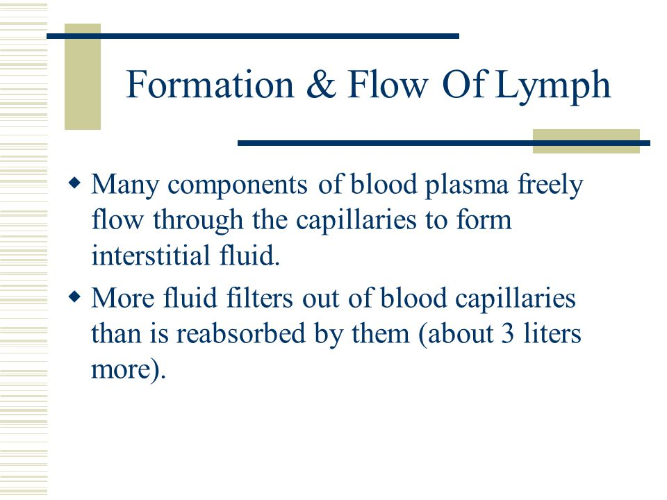 Formation & Flow Of Lymph  Many components of blood plasma freely flow through the capillaries to form interstitial fluid.  More fluid filters out o