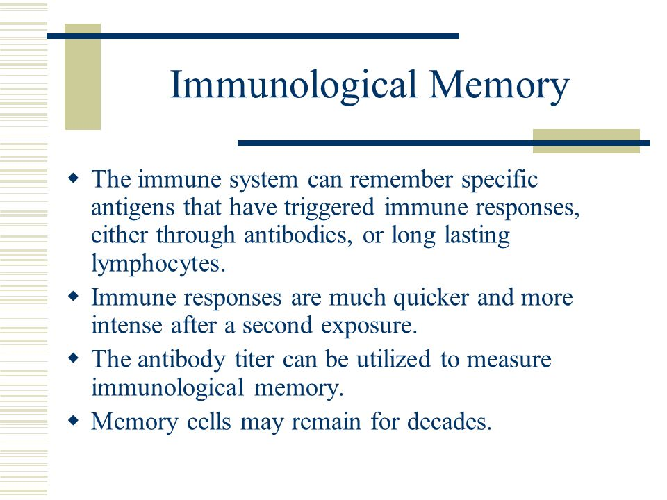 Immunological Memory  The immune system can remember specific antigens that have triggered immune responses, either through antibodies, or long lasti
