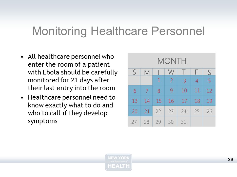 29 Monitoring Healthcare Personnel All healthcare personnel who enter the room of a patient with Ebola should be carefully monitored for 21 days after