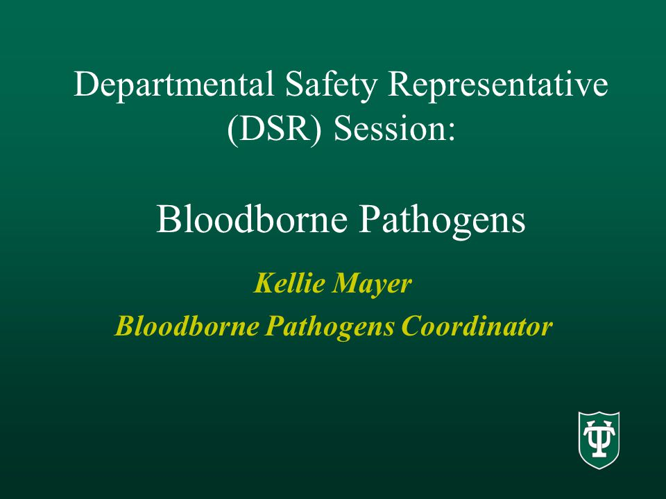 Departmental Safety Representative (DSR) Session: Bloodborne Pathogens Kellie Mayer Bloodborne Pathogens Coordinator