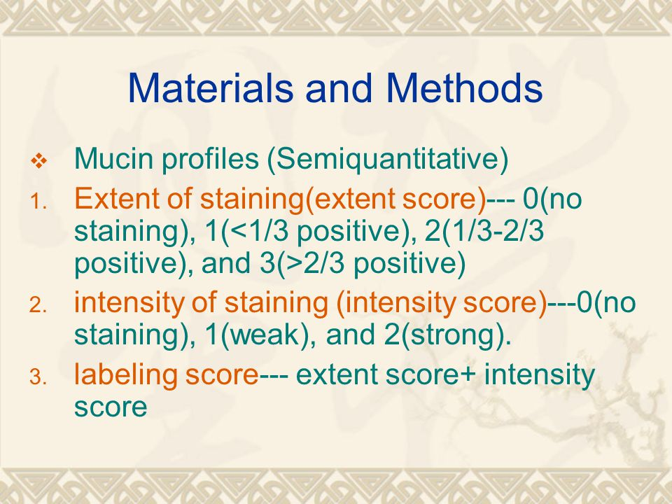 Materials and Methods  Mucin profiles (Semiquantitative) 1. Extent of staining(extent score)--- 0(no staining), 1( 2/3 positive) 2. intensity of stai