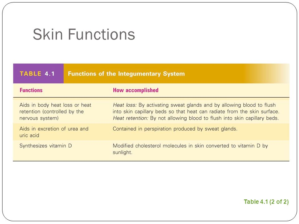Skin Functions Table 4.1 (2 of 2)