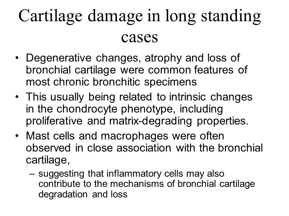 Cartilage damage in long standing cases Degenerative changes, atrophy and loss of bronchial cartilage were common features of most chronic bronchitic
