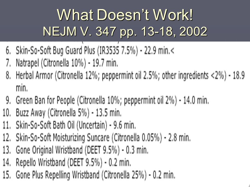 What Doesn't Work! NEJM V. 347 pp. 13-18, 2002