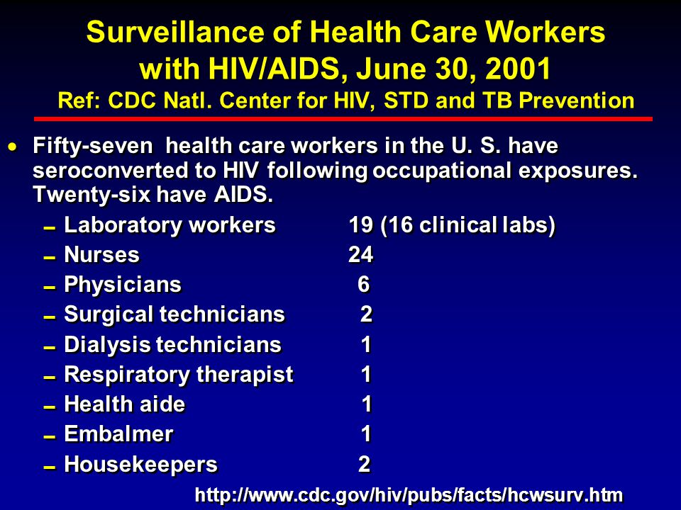 Surveillance of Health Care Workers with HIV/AIDS, June 30, 2001 Ref: CDC Natl. Center for HIV, STD and TB Prevention  Through 6/30/01, 23,473 adults