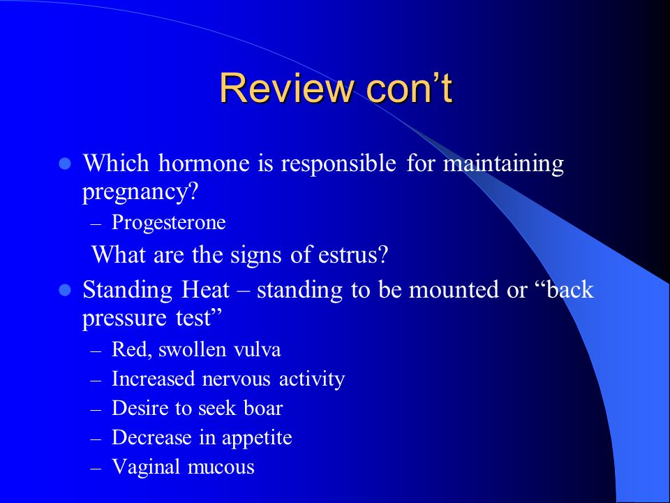 Review con't Which hormone is responsible for maintaining pregnancy.