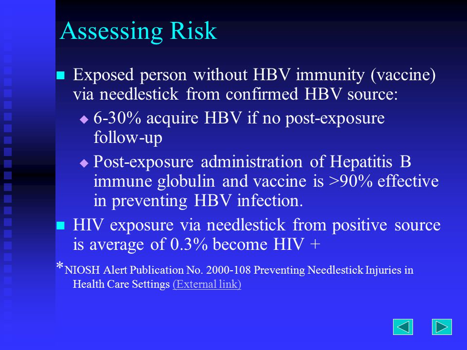 Assessing Risk Exposed person without HBV immunity (vaccine) via needlestick from confirmed HBV source:   6-30% acquire HBV if no post-exposure follow-up   Post-exposure administration of Hepatitis B immune globulin and vaccine is >90% effective in preventing HBV infection.