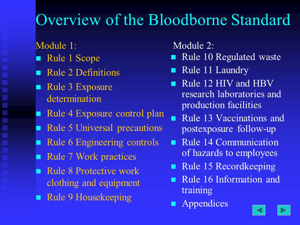 Overview of the Bloodborne Standard Rule 1 Scope Rule 2 Definitions Rule 3 Exposure determination Rule 4 Exposure control plan Rule 5 Universal precautions Rule 6 Engineering controls Rule 7 Work practices Rule 8 Protective work clothing and equipment Rule 9 Housekeeping Rule 10 Regulated waste Rule 11 Laundry Rule 12 HIV and HBV research laboratories and production facilities Rule 13 Vaccinations and postexposure follow-up Rule 14 Communication of hazards to employees Rule 15 Recordkeeping Rule 16 Information and training Appendices Module 1:Module 2: