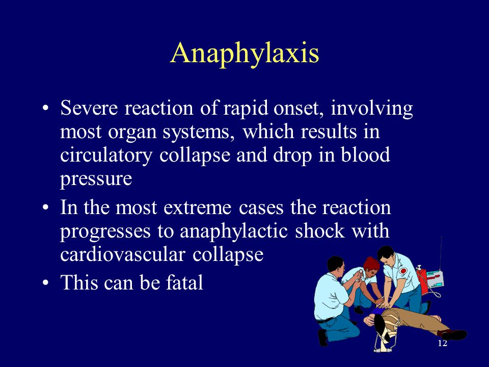 12 Anaphylaxis Severe reaction of rapid onset, involving most organ systems, which results in circulatory collapse and drop in blood pressure In the most extreme cases the reaction progresses to anaphylactic shock with cardiovascular collapse This can be fatal