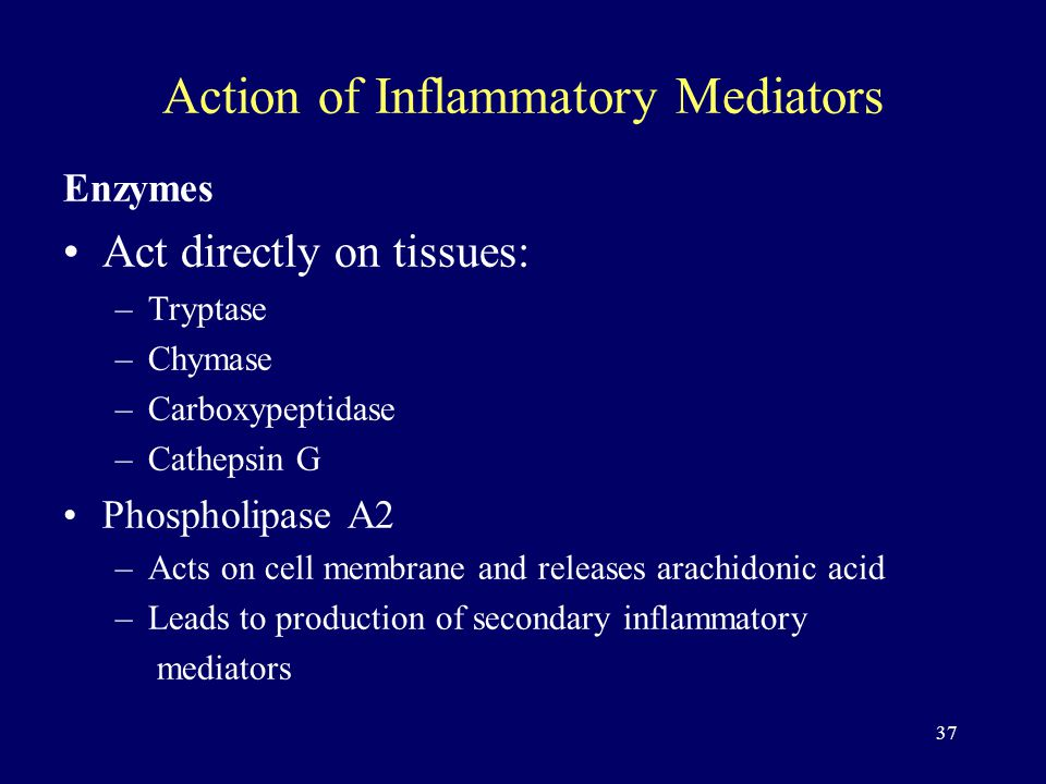 37 Action of Inflammatory Mediators Enzymes Act directly on tissues: –Tryptase –Chymase –Carboxypeptidase –Cathepsin G Phospholipase A2 –Acts on cell membrane and releases arachidonic acid –Leads to production of secondary inflammatory mediators