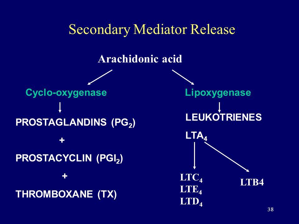 38 Secondary Mediator Release Arachidonic acid Lipoxygenase LEUKOTRIENES LTA 4 Cyclo-oxygenase PROSTAGLANDINS (PG 2 ) + PROSTACYCLIN (PGI 2 ) + THROMBOXANE (TX) LTC 4 LTE 4 LTD 4 LTB4
