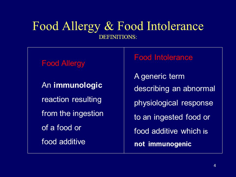 4 Food Allergy & Food Intolerance DEFINITIONS: Food Allergy An immunologic reaction resulting from the ingestion of a food or food additive Food Intolerance A generic term describing an abnormal physiological response to an ingested food or food additive which is not immunogenic