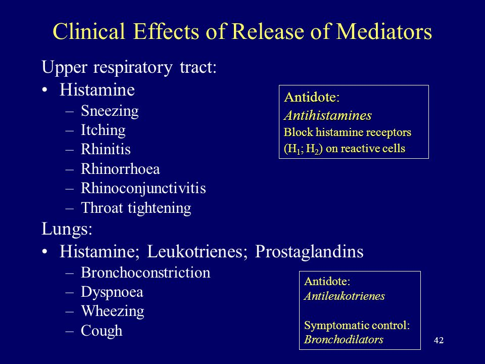 42 Clinical Effects of Release of Mediators Upper respiratory tract: Histamine –Sneezing –Itching –Rhinitis –Rhinorrhoea –Rhinoconjunctivitis –Throat tightening Lungs: Histamine; Leukotrienes; Prostaglandins –Bronchoconstriction –Dyspnoea –Wheezing –Cough Antidote: Antihistamines Block histamine receptors (H 1 ; H 2 ) on reactive cells Antidote: Antileukotrienes Symptomatic control: Bronchodilators