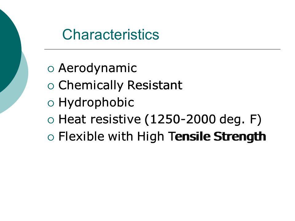 Characteristics  Aerodynamic  Chemically Resistant  Hydrophobic  Heat resistive (1250-2000 deg.