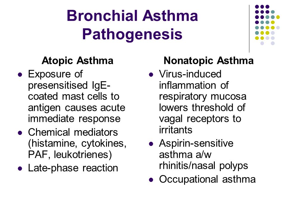 Bronchial Asthma Pathogenesis Atopic Asthma Exposure of presensitised IgE- coated mast cells to antigen causes acute immediate response Chemical mediators (histamine, cytokines, PAF, leukotrienes) Late-phase reaction Nonatopic Asthma Virus-induced inflammation of respiratory mucosa lowers threshold of vagal receptors to irritants Aspirin-sensitive asthma a/w rhinitis/nasal polyps Occupational asthma