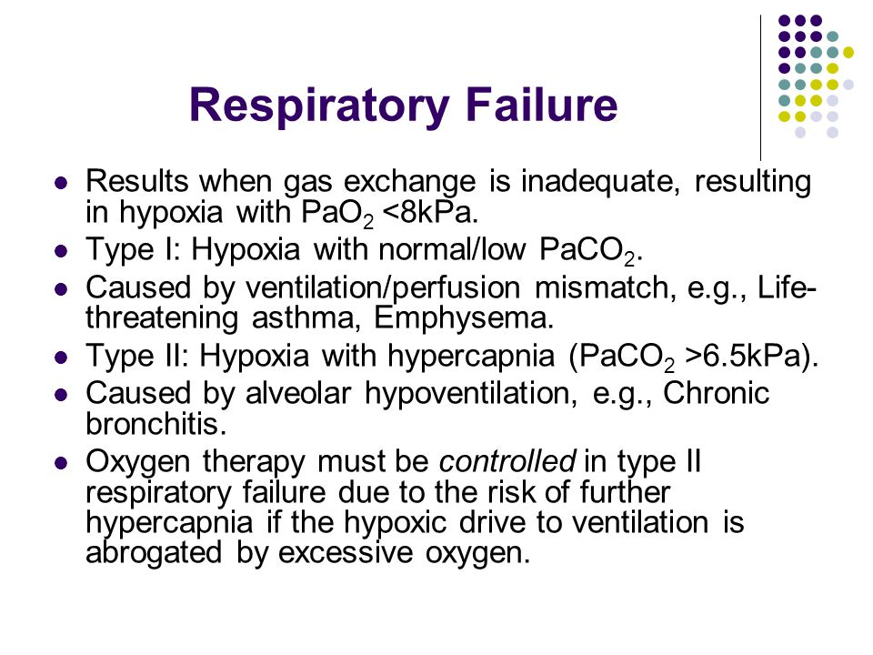Respiratory Failure Results when gas exchange is inadequate, resulting in hypoxia with PaO 2 <8kPa.