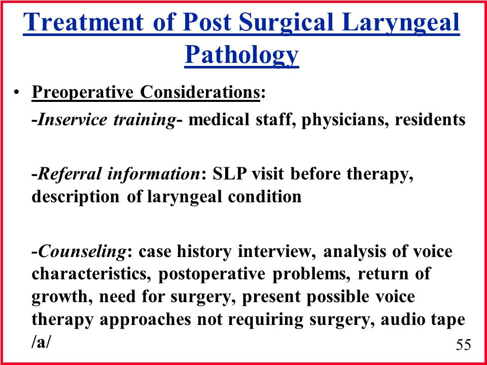 55 Treatment of Post Surgical Laryngeal Pathology Preoperative Considerations: -Inservice training- medical staff, physicians, residents -Referral inf