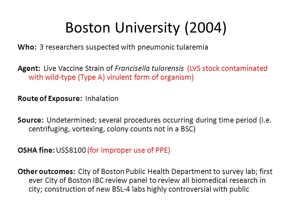 Boston University (2004) Who: 3 researchers suspected with pneumonic tularemia Agent: Live Vaccine Strain of Francisella tularensis (LVS stock contami