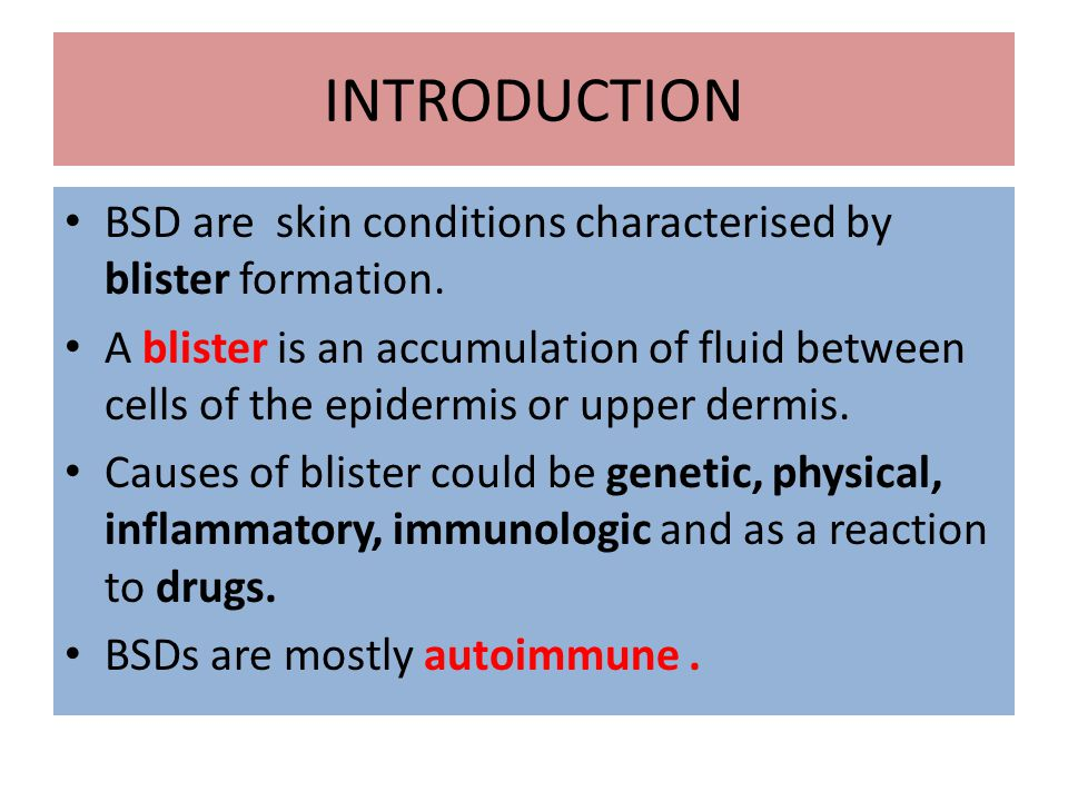 INTRODUCTION BSD are skin conditions characterised by blister formation.