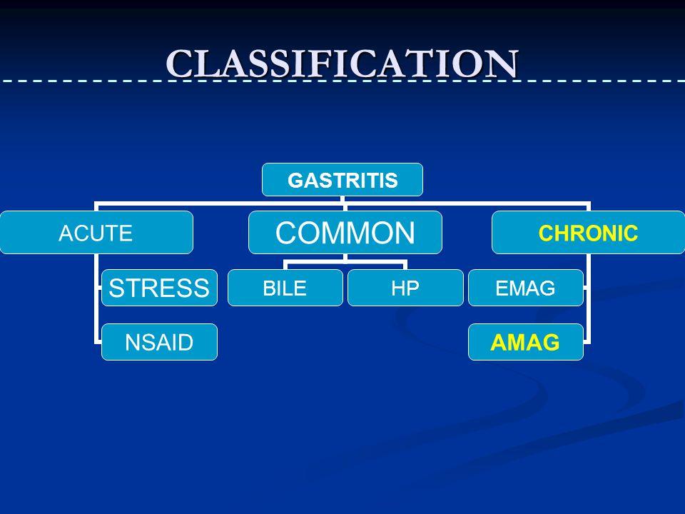 CLASSIFICATION GASTRITIS ACUTE STRESS NSAID COMMON BILEHP CHRONIC EMAG AMAG