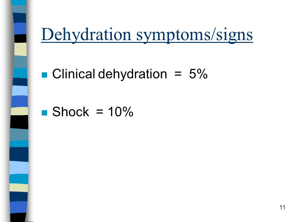 Dehydration symptoms/signs n Clinical dehydration = 5% n Shock = 10% 11