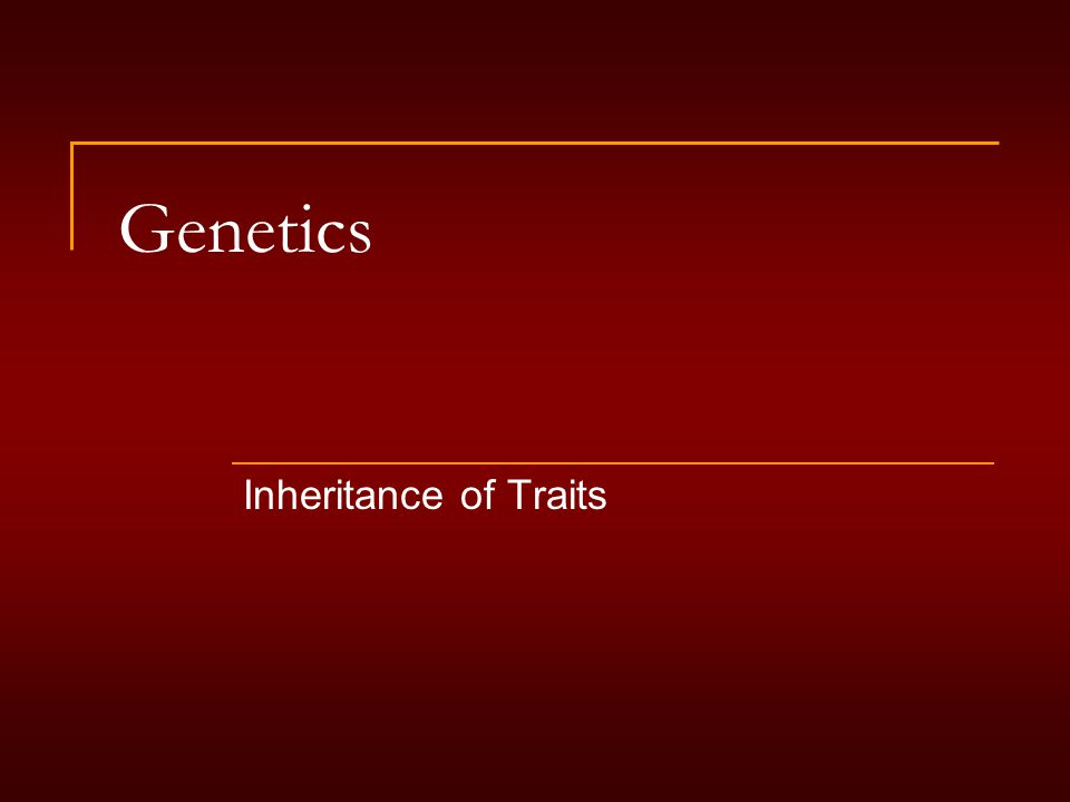 Genetics Inheritance of Traits
