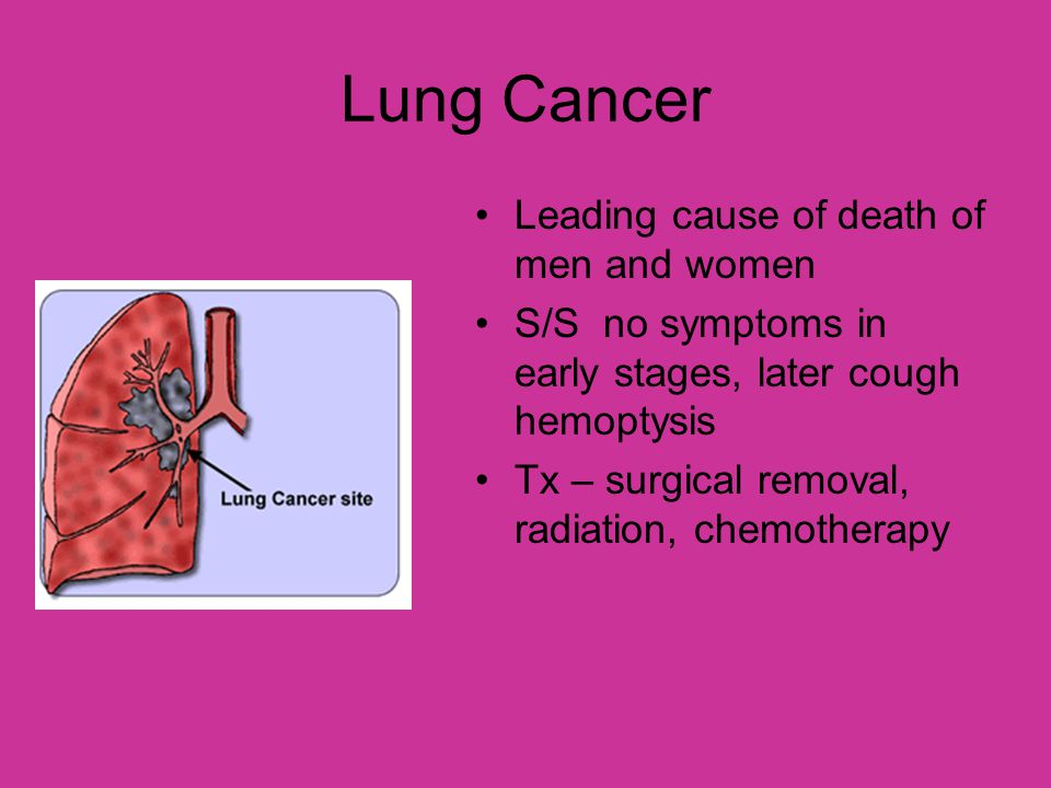 Lung Cancer Leading cause of death of men and women S/S no symptoms in early stages, later cough hemoptysis Tx – surgical removal, radiation, chemothe