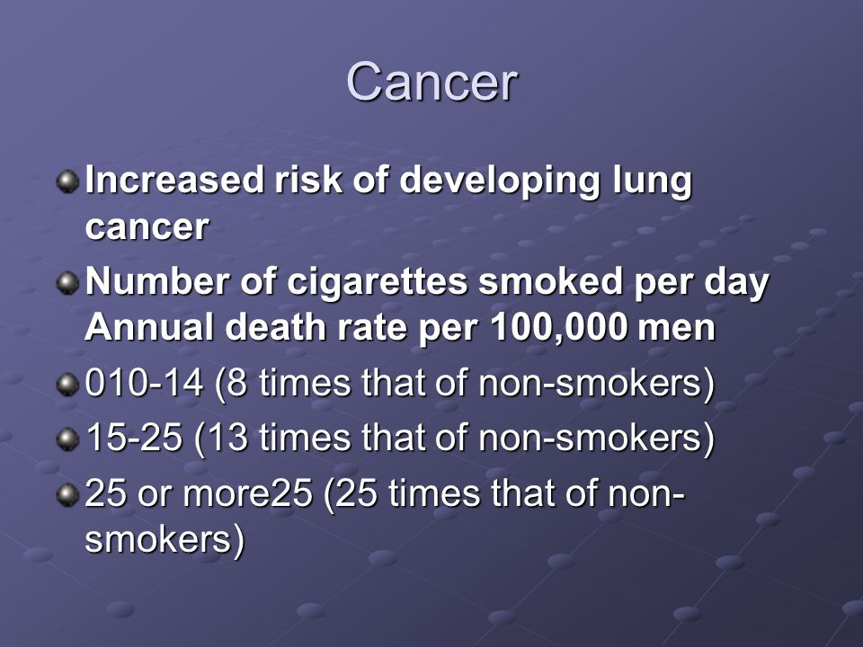Cancer Increased risk of developing lung cancer Number of cigarettes smoked per day Annual death rate per 100,000 men 010-14 (8 times that of non-smokers) 15-25 (13 times that of non-smokers) 25 or more25 (25 times that of non- smokers)