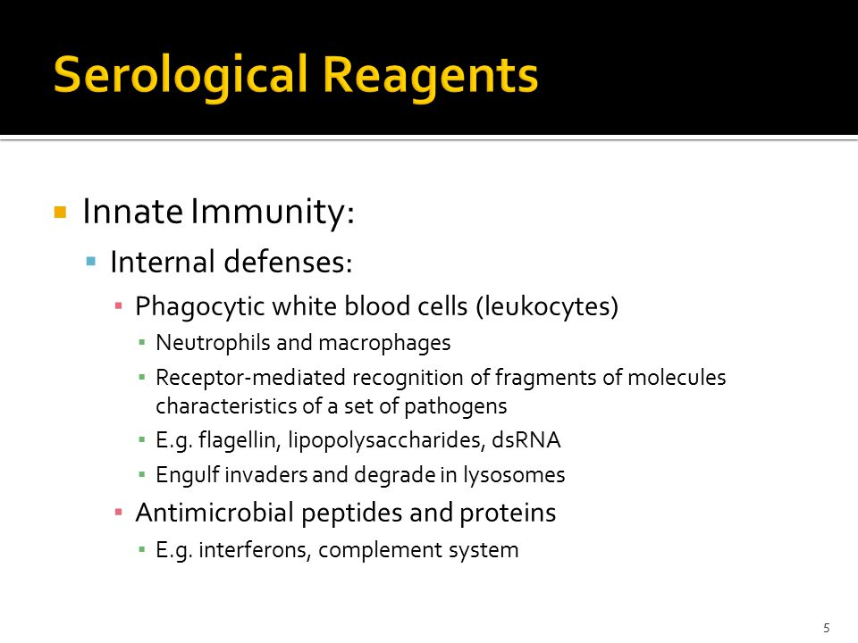  Innate Immunity:  Internal defenses: ▪ Phagocytic white blood cells (leukocytes) ▪ Neutrophils and macrophages ▪ Receptor-mediated recognition of fragments of molecules characteristics of a set of pathogens ▪ E.g.