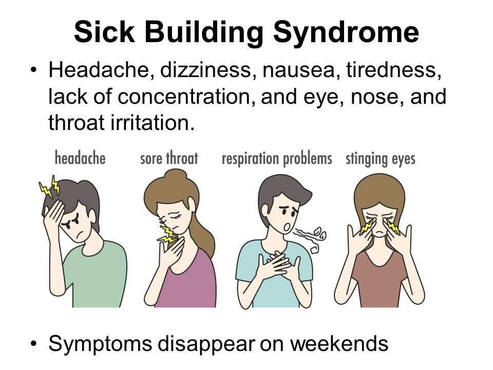 Sick Building Syndrome Headache, dizziness, nausea, tiredness, lack of concentration, and eye, nose, and throat irritation.