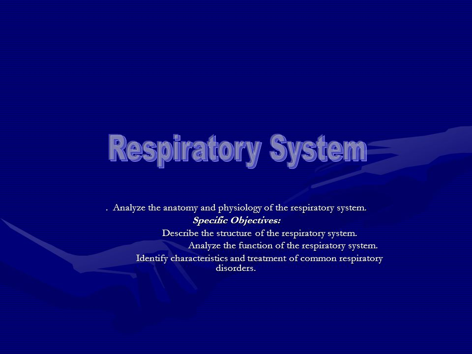 . Analyze the anatomy and physiology of the respiratory system. Specific Objectives: Describe the structure of the respiratory system. Analyze the fun