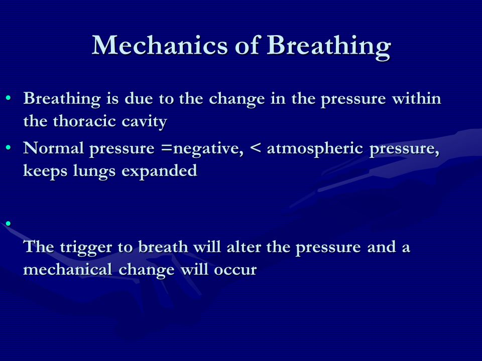 Mechanics of Breathing Breathing is due to the change in the pressure within the thoracic cavityBreathing is due to the change in the pressure within
