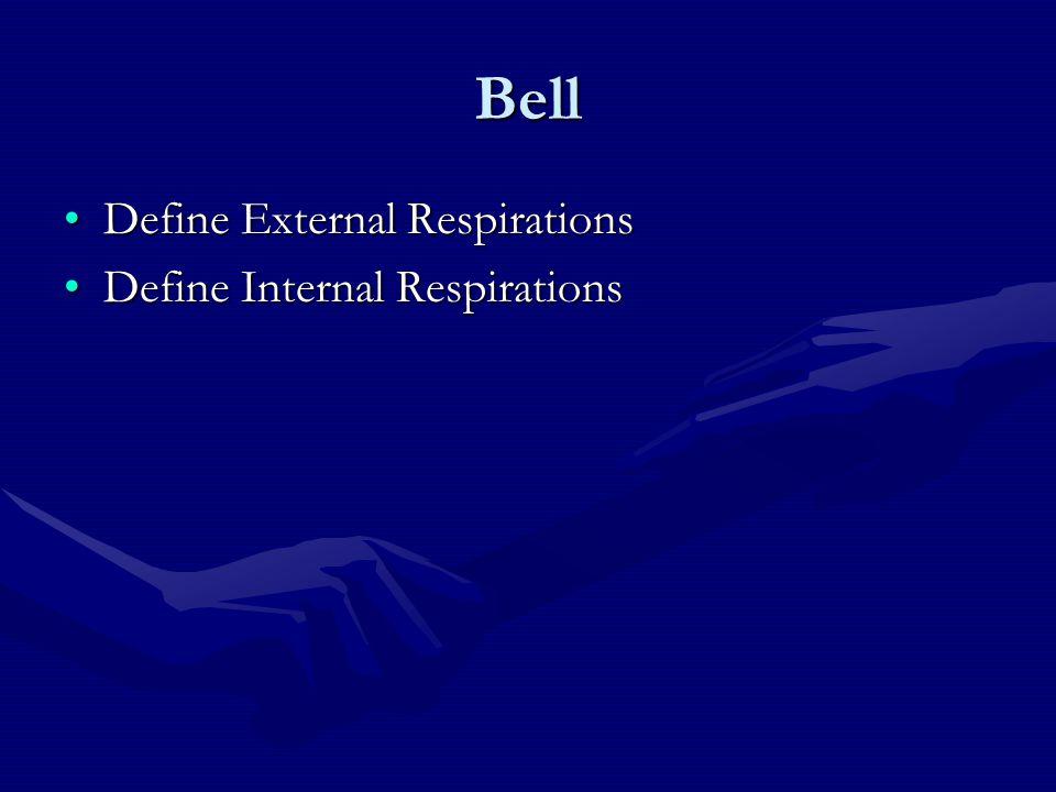 Bell Define External RespirationsDefine External Respirations Define Internal RespirationsDefine Internal Respirations