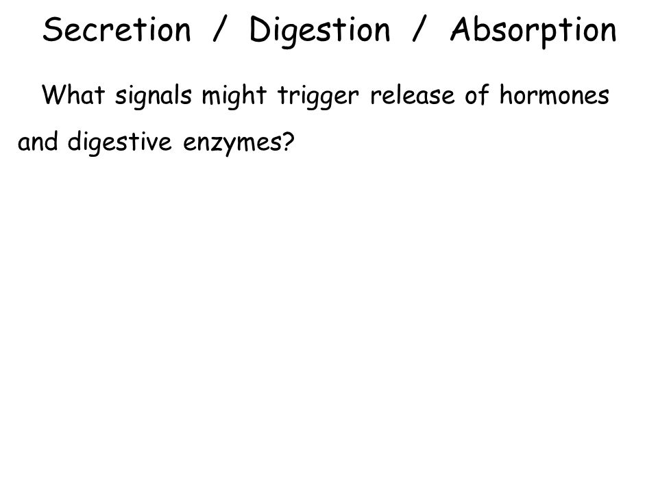 Secretion / Digestion / Absorption What signals might trigger release of hormones and digestive enzymes?