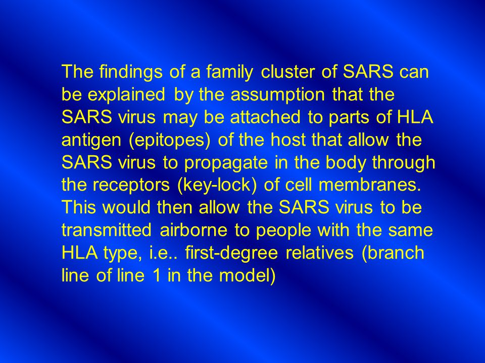 The findings of a family cluster of SARS can be explained by the assumption that the SARS virus may be attached to parts of HLA antigen (epitopes) of the host that allow the SARS virus to propagate in the body through the receptors (key-lock) of cell membranes.