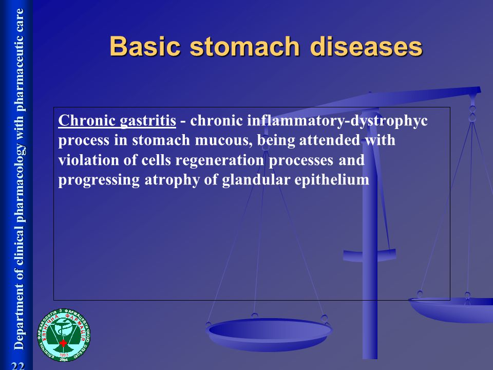Department of clinical pharmacology with pharmaceutic care 22 Chronic gastritis - chronic inflammatory-dystrophyc process in stomach mucous, being att