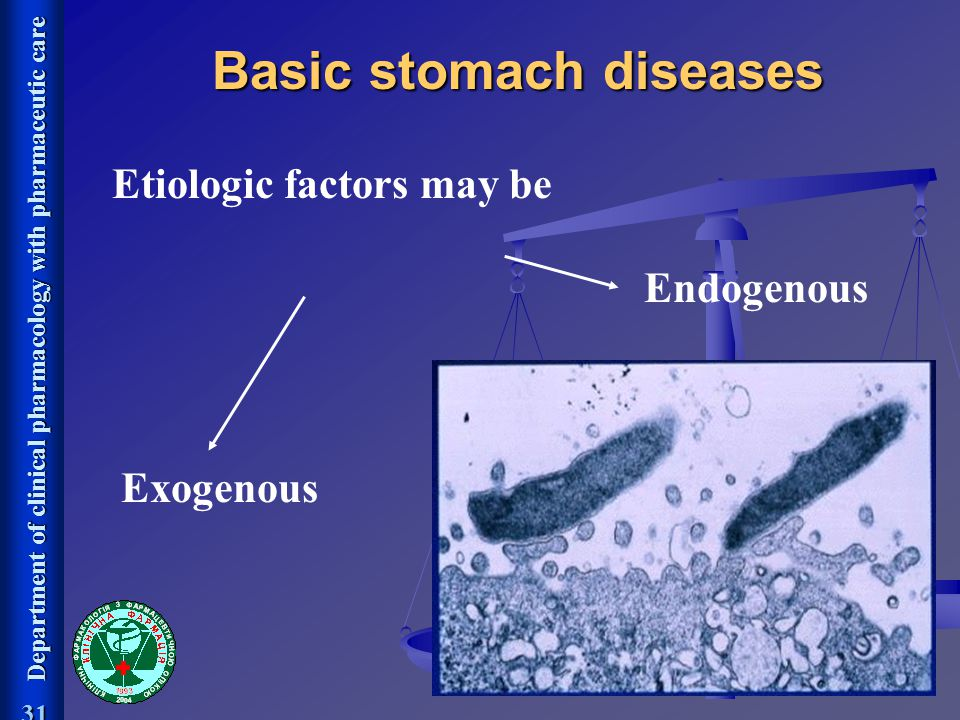 Department of clinical pharmacology with pharmaceutic care 31 Etiologic factors may be Exogenous Endogenous Basic stomach diseases