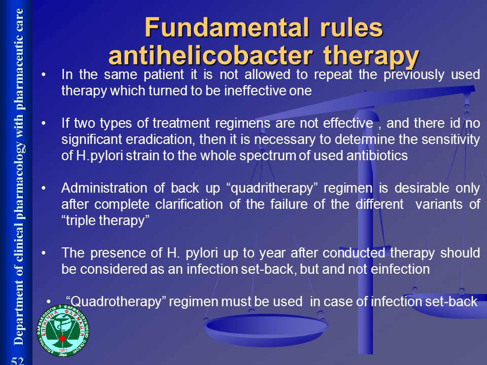 Department of clinical pharmacology with pharmaceutic care 52 Fundamental rules antihelicobacter therapy In the same patient it is not allowed to repe