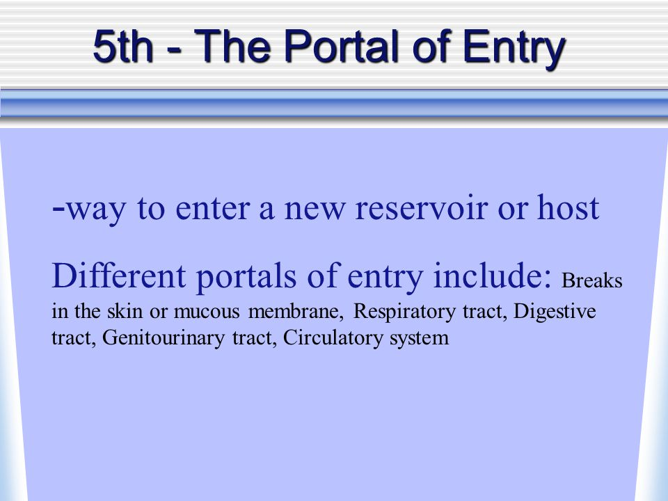 5th - The Portal of Entry - way to enter a new reservoir or host Different portals of entry include: Breaks in the skin or mucous membrane, Respiratory tract, Digestive tract, Genitourinary tract, Circulatory system
