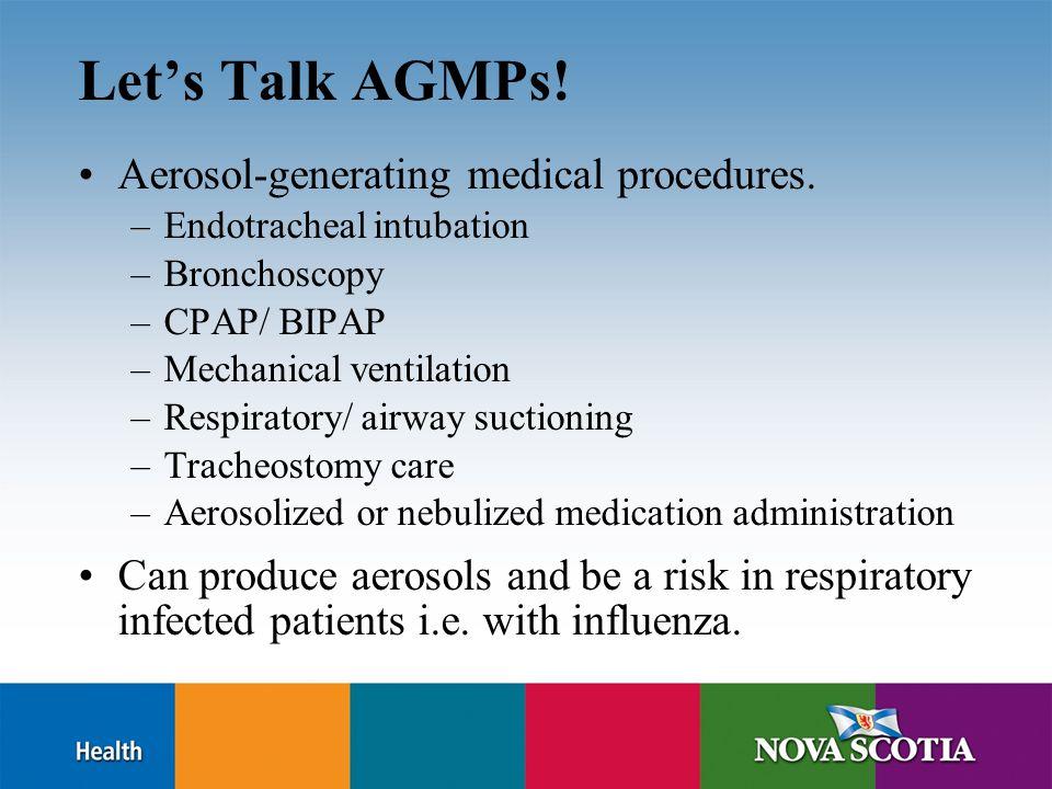 Let's Talk AGMPs.Aerosol-generating medical procedures.