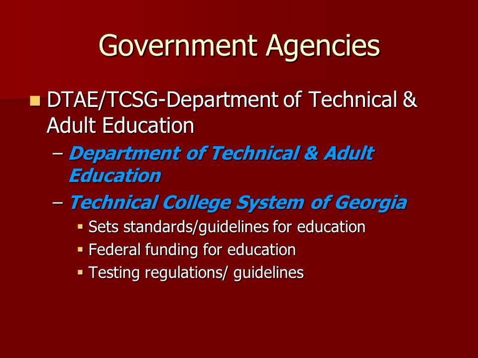 Government Agencies DTAE/TCSG-Department of Technical & Adult Education DTAE/TCSG-Department of Technical & Adult Education –Department of Technical & Adult Education –Technical College System of Georgia  Sets standards/guidelines for education  Federal funding for education  Testing regulations/ guidelines