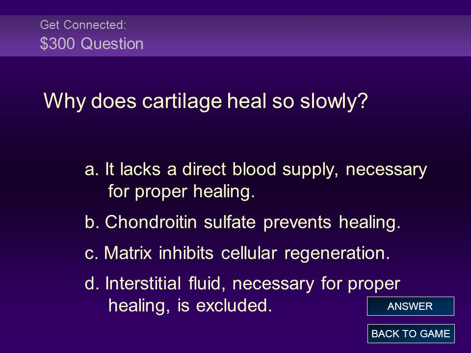 Get Connected: $300 Question Why does cartilage heal so slowly.