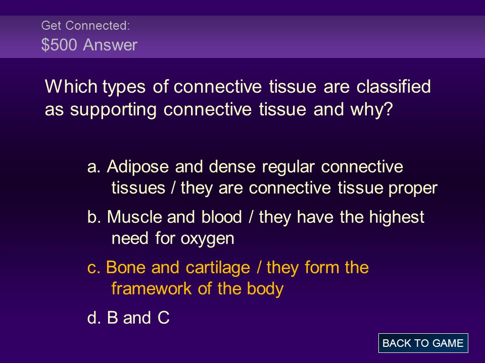 Get Connected: $500 Answer Which types of connective tissue are classified as supporting connective tissue and why.