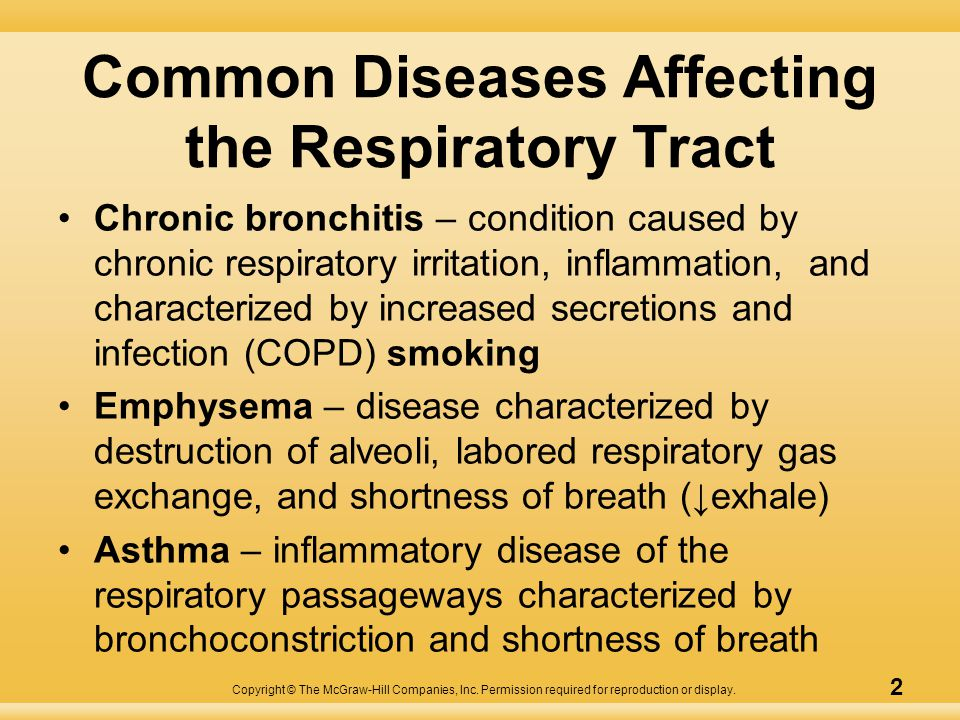 Copyright © The McGraw-Hill Companies, Inc. Permission required for reproduction or display. 2 Common Diseases Affecting the Respiratory Tract Chronic