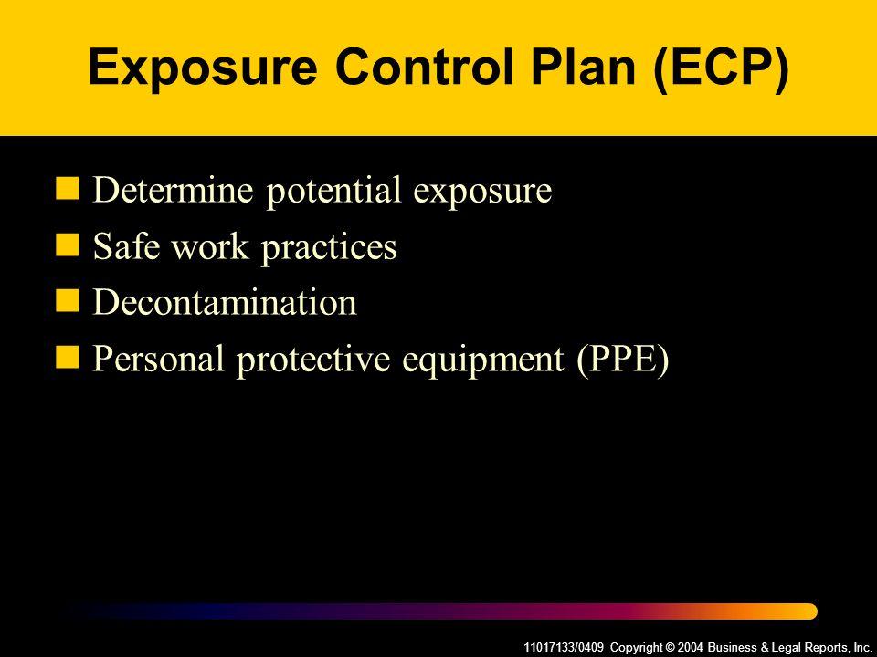 11017133/0409 Copyright © 2004 Business & Legal Reports, Inc. Exposure Control Plan (ECP) Determine potential exposure Safe work practices Decontamina