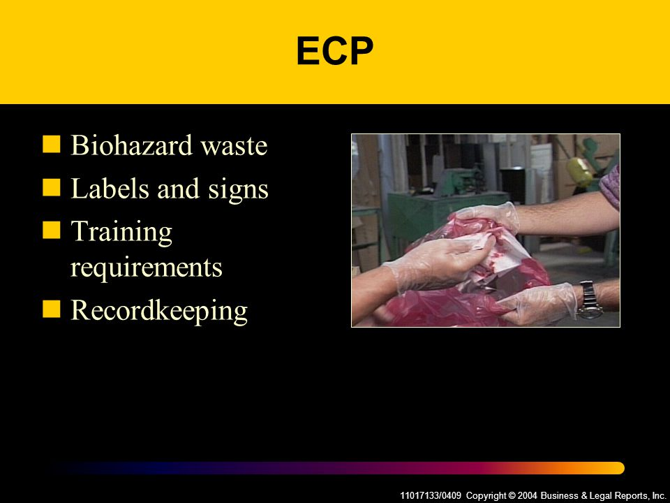 11017133/0409 Copyright © 2004 Business & Legal Reports, Inc. ECP Biohazard waste Labels and signs Training requirements Recordkeeping