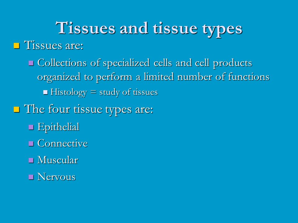 Tissues are: Tissues are: Collections of specialized cells and cell products organized to perform a limited number of functions Collections of special