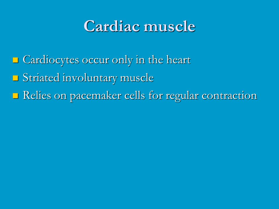 Cardiocytes occur only in the heart Cardiocytes occur only in the heart Striated involuntary muscle Striated involuntary muscle Relies on pacemaker ce