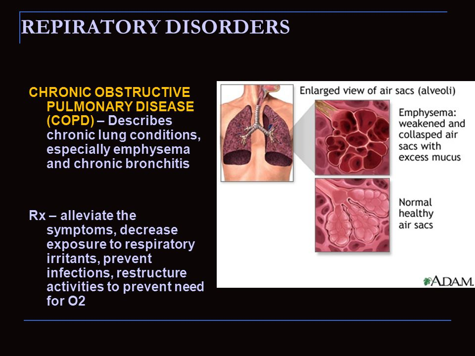 REPIRATORY DISORDERS CHRONIC OBSTRUCTIVE PULMONARY DISEASE (COPD) – Describes chronic lung conditions, especially emphysema and chronic bronchitis Rx