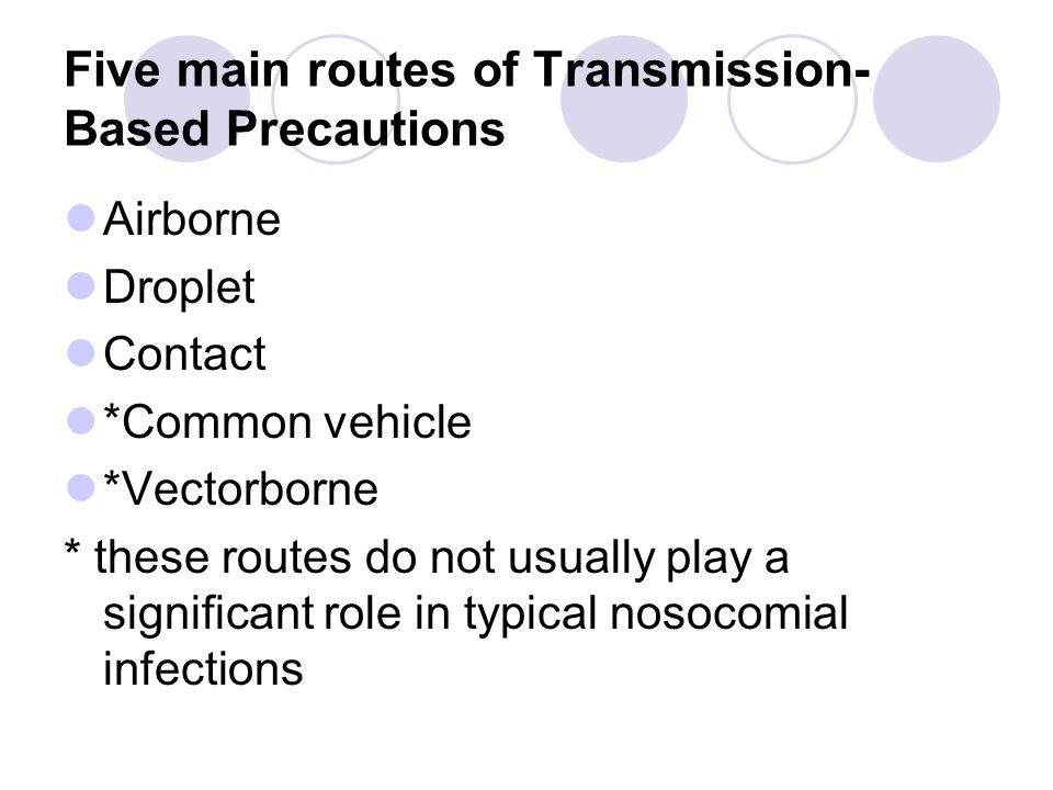 Transmission-Based Precautions Purpose: Designed for patients documented or suspected to be infected with highly infectious pathogens for which additional precautions are needed to interrupt transmission in hospital.